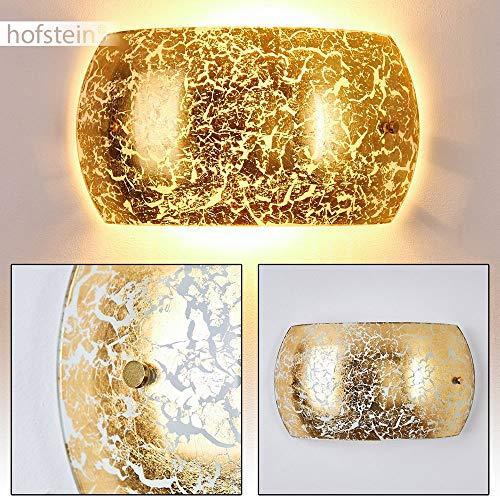 Wandlampe Pilar in Gold/Weiß, moderne Wandleuchte aus Glas mit Lichteffekt, 2 x E14-Fassung, max. 40 Watt, Innenwandleuchte mit Up & Down-Effekt in Blattgold-Optik, geeignet für LED Leuchtmittel -