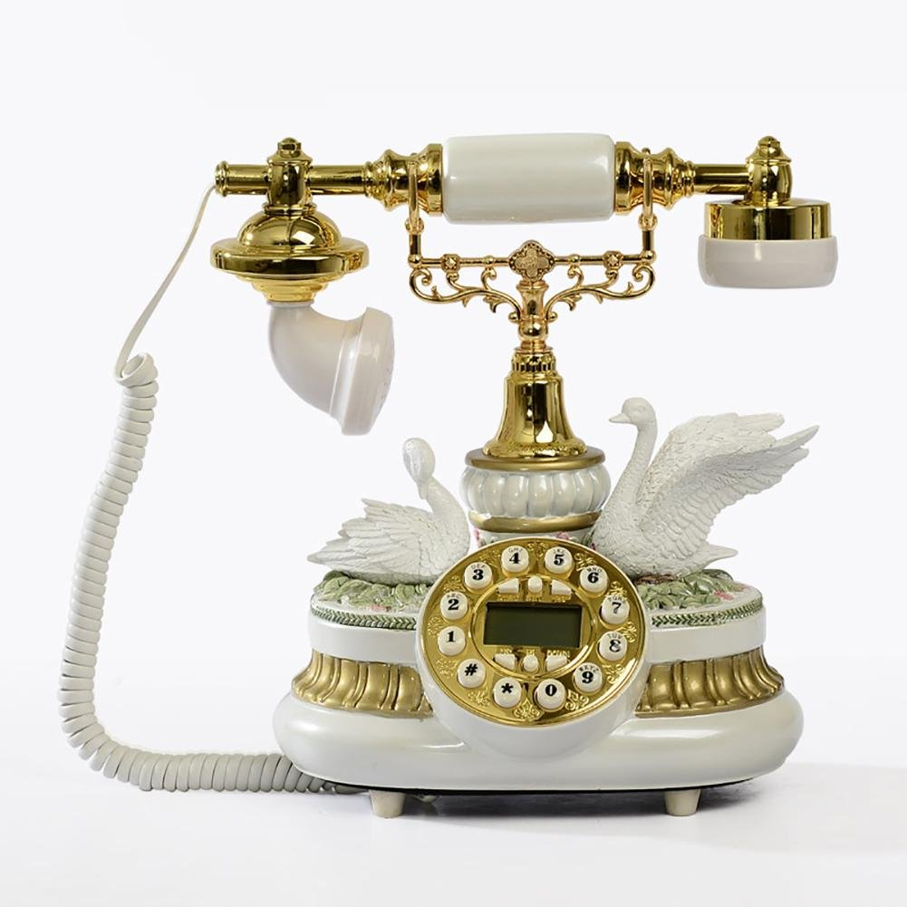 BBIAY Retro scrivania domestica Telefono, Stile cigno impresso, Casa creativa, ID chiamante, Camera