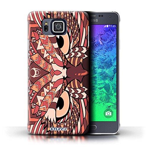 Kobalt® Imprimé Etui / Coque pour Samsung Galaxy Alpha / Loup-Rouge conception / Série Motif Animaux Aztec Hibou-Rouge