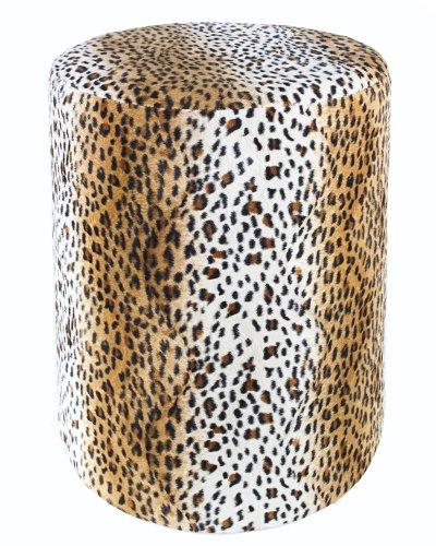 Kaikoon Sitzhocker Fell-Imitat Leopard Sitzhöhe 44 cm