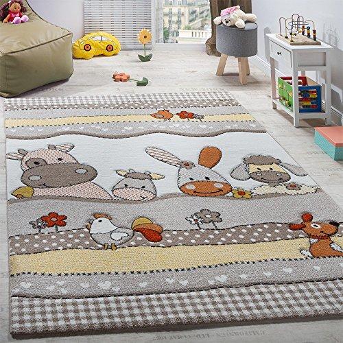 dschungel teppich Paco Home Kinderteppich Kinderzimmer Lustige Bauernhof Tiere Konturenschnitt Beige Grau, Grösse:80x150 cm