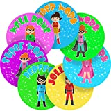 Graphic Flavour Adorable Girl Superhero Reward Sticker Labels (70 Stickers @ 2.5cm) Children, Parents, Teachers