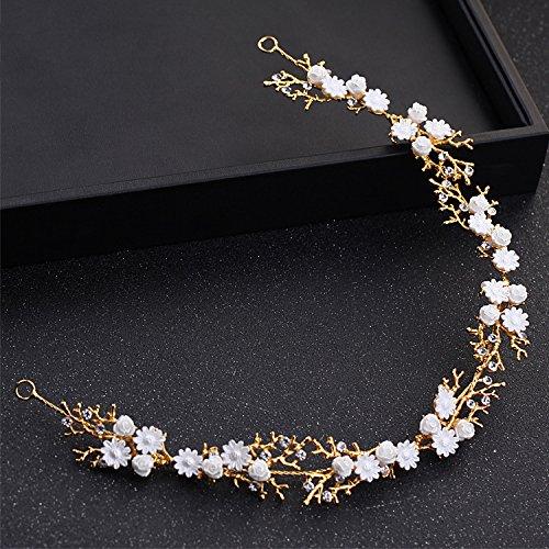 KHSKX-Die Neue Weiße Diamanten Blume Haarband Braut Einfach Feines Haar - Schmuck Braut Hochzeit Brautjungfer Kleid KopfschmuckGoldene (Prom-kleid Fantastisches)