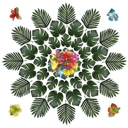 Simulation Hawaiian Hibiskus Blumen Hibiskusblüten und Tropische Blätter Deko Grün Palme Hawaii Kunstpflanze Tischdeko für Hawaiianische Tisch Party Dschungel Strand Luau Thema ()