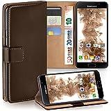 Pochette OneFlow pour Samsung Galaxy A3 (2016) housse Cover avec fentes pour cartes | Flip Case étui housse téléphone portable à rabat | Pochette téléphone portable étui de protection accessoires téléphone portable protection bumper en OXIDE-BROWN