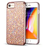 ESR Funda para iPhone 8 /iPhone 7 Lujosa Brilla [Protección a Pantalla y Cámara ] [Compatible con Carga Inalámbrica] Plástico + TPU Blanda para iPhone 7/iPhone 8 - Oro Rosa