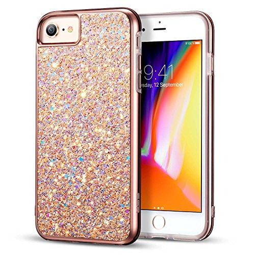 Esr cover iphone 8 [supporta la ricarica wireless], cover iphone 7, custodia lucciante con brillantini/glitters/diamante [esterno duro e interiore morbido] per apple iphone 8/7 da 4.7 pollici. (nero)