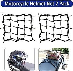 Motorrad Gepäcknetz Fahrrad Netz 2 Stück Helmnetz mit Haken Spannnetz Sicherungsnetz für Befestigung Helm Gepäcktasche Gummizug Dehnbar 28 x 28cm