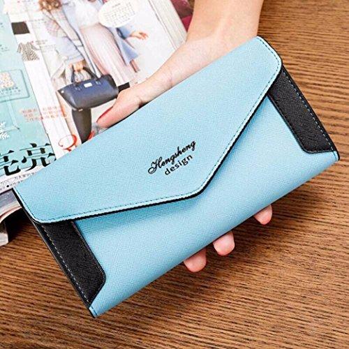 Tefamore Frauen Verschlussspange Coin Purse lange Brieftasche Card Inhaber Handtasche (Blau) Blau