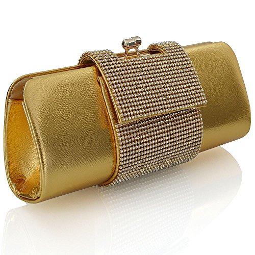 ESSEX GLAM Sintetico Borsa Donna Pochette Finto Diamante Zirconi Scintillante Festa Sera Matrimonio Oro metallizzato