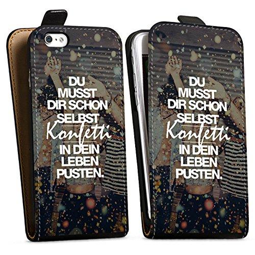 Apple iPhone SE Stand Up Hülle Case Cover mit Standfunktion Sprüche Party Leben Downflip Tasche schwarz