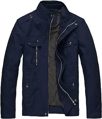 Wantdo Men's Lightweight Cotton Jacket Outdoor Windbreaker Coat Classic Full-Zip Jackets Stand Collar Jackets