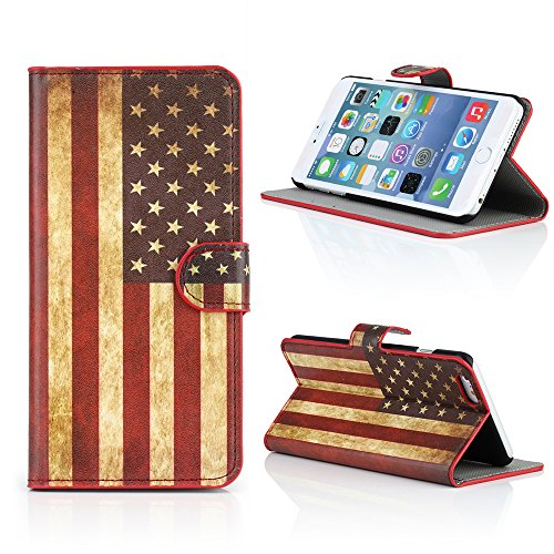 "Kit Me Out IT Linguetta laterale stampata Finta pelle per Apple iPhone 6 Plus 5.5"" pollici - Rosso / Bianco / Blu Stelle e strisce Bandiera americana"