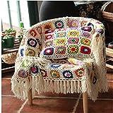 Flor hecha a mano ganchillo flecos borla de manta, toalla de alfombra de punto, sofá, sofá cojín,...
