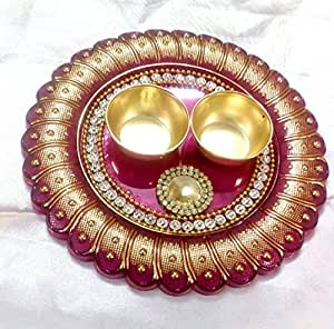 Elegant Handmade Pooja Aarti Plate - Set of 3 - Decorated Aarti Thali and two decorated Bowls - Multiple Designs and Colors Available