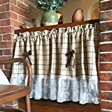 Lace Valance Striped Bowknot Tier Curtains For Kitchen Windows