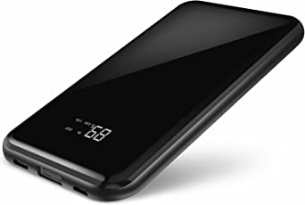 Powerbank 15000mAh Caricabatterie Portatile Todamay Batteria Esterna Schermo LCD con Superficie a Specchio con Ingresso 2.1A Type-C e Micro USB, Uscita 2.4A per iPhone, Android, Samsung e Altri Modelli, Nero