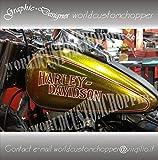 ADESIVI DECAL STICKERS HARLEY DAVIDSON CON BORDATURA X SERBATOIO MOTO CUSTOM