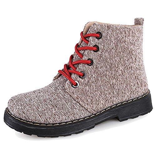 frauen martin stiefel leinwand dicker flache warme knöchel schnürsenkel kurze schuhe . 2 . 35 (Air Jordans Schuhe Für Jungen-größe 9)