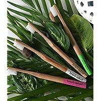 Brosse Naked Brosse à dents en bambou avec poils biodégradable d'origine végétale, adulte doux 4-Pack