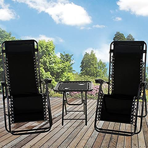 Marko Outdoor Zero Gravity Textoline Sun Lounger Set Steel Frame Reclining Chairs Table Garden (Black)