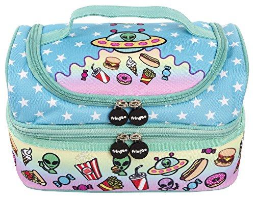 Fringoo multi-compartment Kinder Thermo-Lunch-Tasche Kühltasche für Kinderzimmer Double Decker Food Snacks (Alien Invasion)