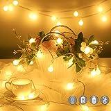Guirlande Lumineuse,10M 100 LED Boules Guirlande Pile USB 2 en 1 Étanche Globe Girlande de Lumière avec 20 Crochets et Téléco