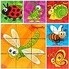 PROW® 9 Pezzi Cubo di Legno Puzzle, Insetto World Pattern Blocchi Puzzle Incluso Coccinella Ape Farfalla Locusta Lumaca Libellula per 3 Anni e Fino Bambino Regalo di Natale Perfetto