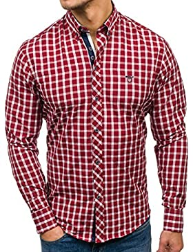 BOLF Camicia Slim Fit – A Manica Lunga – A Quadri – Casual- da Uomo 2B2