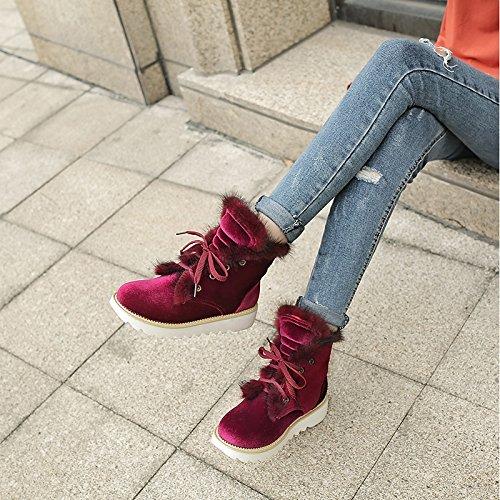 HSXZ Scarpe da donna in similpelle Comfort Winter Snow Boots stivali tacco basso Round Toe stivaletti/stivaletti di abbigliamento casual Nero Rosso Red