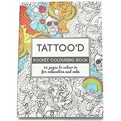 """Malbuch für Erwachsene - Antistress-Malbuch - 20 Motive """"Fantasie"""" / """"Tattoo'D"""" / """"Geometrie"""" - Postkartenformat für unterwegs (Tattoo'D)"""