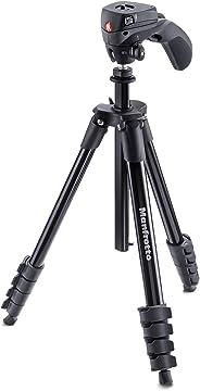 Manfrotto MKCOMPACTACN-BK Treppiede con Borsa, Testa Ibrida per Fotografia e Video, 5 Sezioni in Alluminio, Nero
