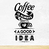 Coffee Good Idea café Bonne idée Coupe Cuisine art mural autocollant vinyle adhésif d'une décoration murale citation disant lettrage de motivation