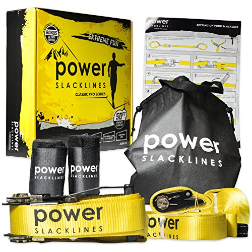 Power Slacklines - Set Heavy Duty Nylon 15 Meter lang, 5 cm breit + Baumschutz