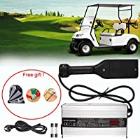 36 Volt Cargador De Batería Carro Ezgo De Golf,GZQES, 36V Cargador Para EzGo,Bateria para Cohe con Enchufe EU con Pantalla LCD (Plata)