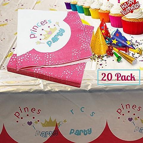 Bambina 33cm pink princess crown Royal 2ply tovaglioli per festa di compleanno partito (Confezione da 20)