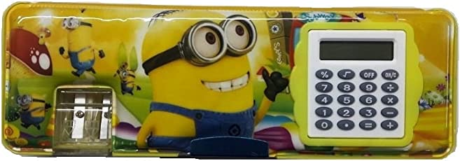 Pencil Boxes for Boys for Schools, Minions Cartoon Printed Magnetic Dual Side Pencil Box with Calculator for Kids ( Multi Color )