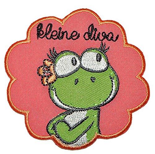 alles-meine.de GmbH NICI Frosch Mädchen  kleine Diva  6,8 cm * 6,8 cm Bügelbild Aufnäher Applikation - Froschmädchen Frösche Blume