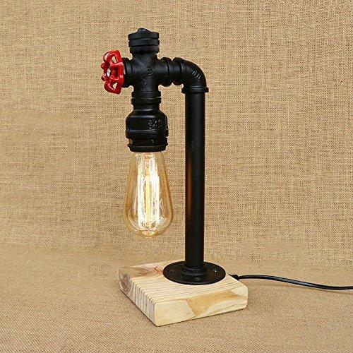 TOYM UK Berceau en bois Vintage Étude Bar Café Personnalité Industrielle Creative Chambre Fer Pipe À Eau Table Lampe