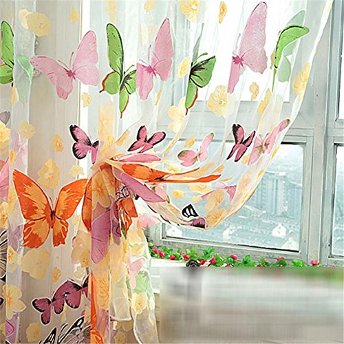 Generic Butterfly Print Sheer Curtain Panel Window Balcony Tulle Room Divider Curtain