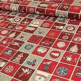 Baumwollstoff Weihnachten Patchwork Hirsch Tannenbaum Bär rot grau - Preis gilt für 0,5 Meter -