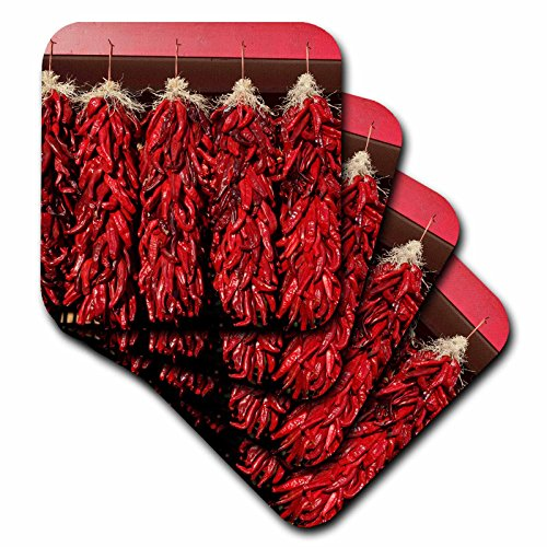 Danita Delimont – Paprika – Chili Peppers Trocknen in der Sonne, VELARDE, New Mexiko, USA. – Untersetzer, set-of-8-Soft