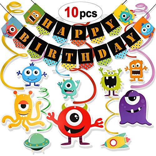 Howaf Monster party kindergeburtstags Deko, Monster Hängedekoration Spiralen Girlande und Happy Birthday Banner für Jungen Mädchen Kinder geburtstags Dekoration