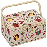 MEDIUM Owl Print Sewing Basket With Handle & Removable Tray