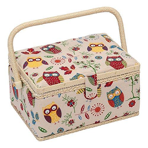 Hobby Gift MRM/29 Gufo Design Scatola Da Cucito Il Naturale Medio (18.5 X 26 X 15cm)