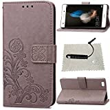 Schutzhülle für Huawei P8 Lite Leder Klee Impressum,TOCASO Glatt Thin Grau PU Leder Handyhülle Tasche Flip Cover Wallet Case Blumen Pattern Hülle für Huawei P8 Lite Bookstyle Folio Protective Carrying Handycover Schutz Cases Etui Lederhülle Handytasche mit Magnetic Closure Stand Credit Card Holder Pouch Soft Silikon Backcover Rückseite Shell Schale Ledertasche mit Schwarz Stylus Pen für Huawei P8 Lite