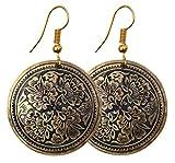 SouvNear Brass Drop Hook Earrings Pair - Gold Tone & Dusty Blue - Women Fashion Accessories / Gifts