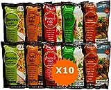 Shirataki Konjac Miracle Noodle, Nuova Generazione, scatola assortita da 10 pacchetti da 200g cad.(contiene:2 Spaghetti, 2 Fettuccine, 2 Riso, 2 Penne e 2 Spaghettini)