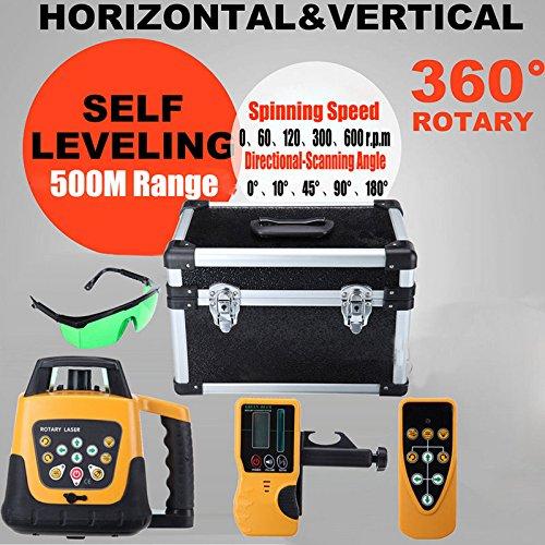 Ridgeyard Automatische Selbstnivellierung Rotary Laser Level 500m Reichweite grüne Strahl Green Laser (Rotary Laser Level Kit)