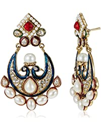 Poetry Accessories Pearl Drop Earrings For Women (Navy Blue And Pink) (PMER-007)